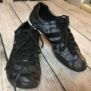 COACH Black Signature Sateen KATE Laced Sneakers 7